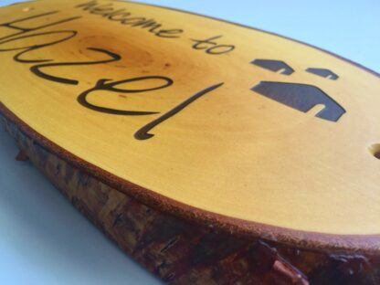 Wooden Slice Sign with Natural Lettering