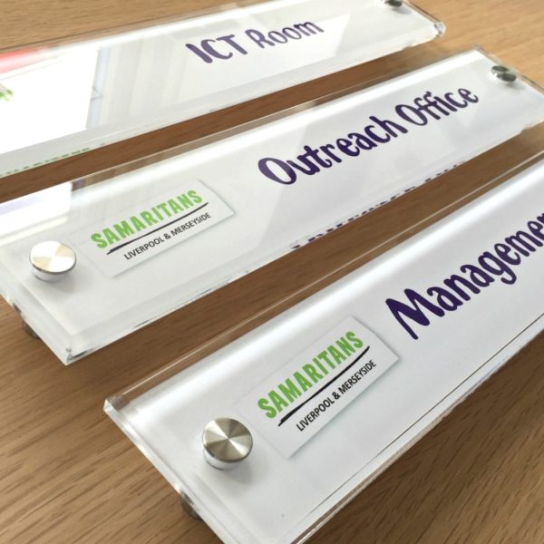 Modern looking Perspex office door sign with your company logo