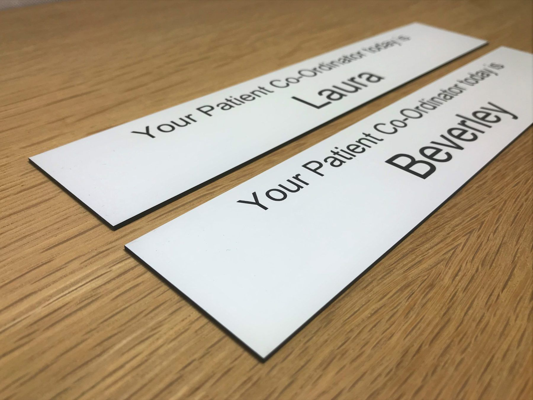 Laser engraved plastic nameplate inserts