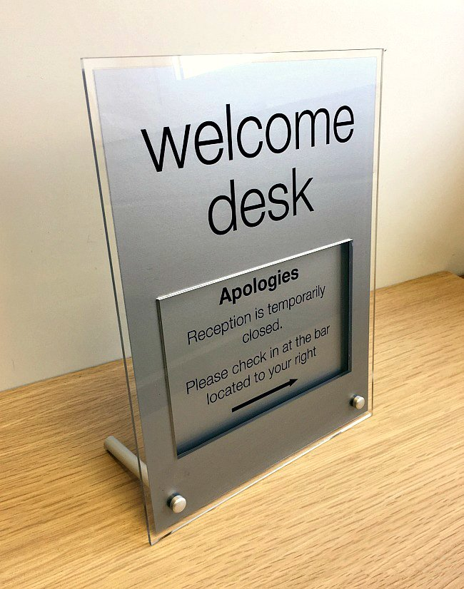 Acrylic Desk Sign With Legs Buysigns