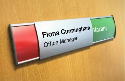Curved Aluminium In Use/Vacant Slider Sign with Name printed