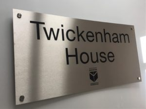 Large Brushed Steel Exterior Signs