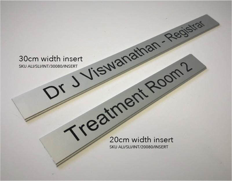 Interchangeable door sign nameplate inserts