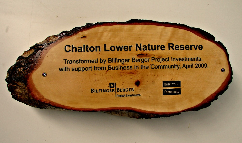 nature reserve timber slice sign