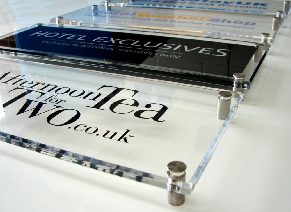 stacked perspex signage system